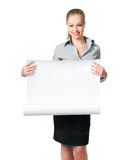 Business lady with blank Stock Image