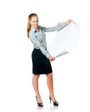Business lady with blank Royalty Free Stock Image
