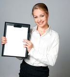 Business lady with blank. Young beautiful business lady with blank for your picture or text Royalty Free Stock Image