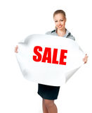 Business lady with blank Royalty Free Stock Photography