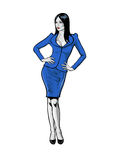 Business lady in blue suit Royalty Free Stock Image