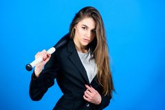 Business lady boss. Time demands decisive actions. Confidence and strength. Life game. Build career. Woman pretty girl. Bear formal jacket and hold baseball bat royalty free stock photos