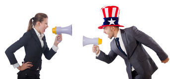 Business lady and businessman with megaphones Stock Photography