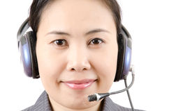 Business lady call centre employee speaking Stock Photo