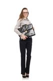 Business lady with case isolated on white Royalty Free Stock Photos