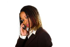 Business Lady Cell Talking Stock Photo