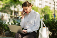Business lady in the city Royalty Free Stock Photos
