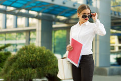 Business lady in the city Stock Images