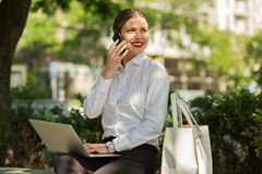 Business lady in the city Royalty Free Stock Images
