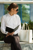 Business lady in the city Royalty Free Stock Photography