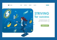 Business lady is committed to success, runs on a planned schedule. The concept of achieving the goal. 3d isometric. Landing page