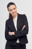 Business lady with crossed hands Royalty Free Stock Images