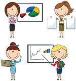 Business Lady. Cute funny business ladies with diagrams and documents Stock Photos