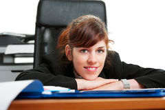 Business lady at a desk. Pretty business lady or student working at a desk Stock Images