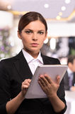 Business lady with digital tablet. Royalty Free Stock Image