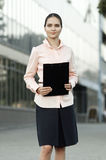 Business lady with documents in hands stock photo