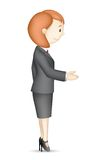Business Lady doing Handshake. Illustration of confident 3d business lady in vector in handshake gesture Stock Photo