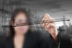 Free Business Lady Drawing Crane Line For Construction Stock Image - 25964941