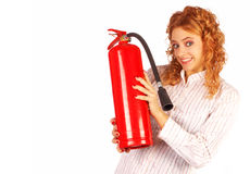 Business lady with extinguisher Royalty Free Stock Photo