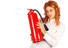 Business lady with extinguisher Royalty Free Stock Photography