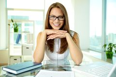 Business lady in eyeglasses Stock Photo