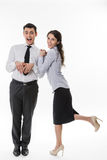 Business Lady flirting with clerk. Royalty Free Stock Photography