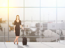 Business lady flying abroad Royalty Free Stock Photos