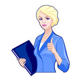 Business lady with a folder, thumbs up Royalty Free Stock Photography