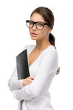 Business lady with folder wearing glasses Royalty Free Stock Photo