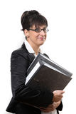 Business lady with folders Royalty Free Stock Photos