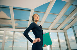 Business lady with folders Stock Photo