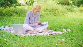 Business lady freelance work outdoors. Become successful freelancer. Woman with laptop sit on rug grass meadow. Girl stock photography