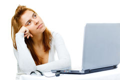 Business lady frustrated with her computer Royalty Free Stock Photo