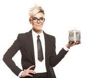 Business lady with gift isolated Stock Photography