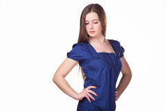 Business lady. Girl in a blue dress Royalty Free Stock Photos