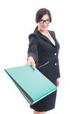 Business lady giving a file Stock Image