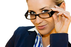 Business lady in glasses. Beautiful business lady on white background with clipping path Royalty Free Stock Image