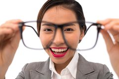 Business lady with glasses Royalty Free Stock Images