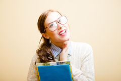 Business lady in glasses Royalty Free Stock Photo
