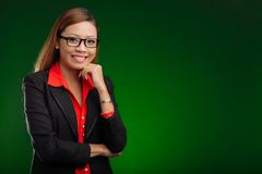 Business lady in glasses Royalty Free Stock Images
