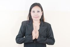 Business lady greeting. Royalty Free Stock Photo