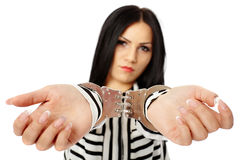 Business lady in handcuffs Stock Image