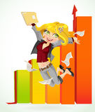 Business lady happy by submit the report Royalty Free Stock Photo