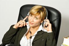 Business Lady with Headset Stock Photos