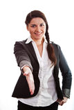 Business lady with her hand stretched Royalty Free Stock Image