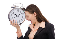 Business lady holding alarm clock isolated on Stock Photo