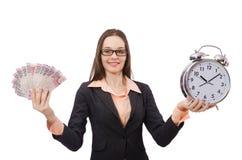 Business lady holding alarm clock isolated on Stock Photos