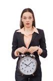 Business lady holding alarm clock isolated on Royalty Free Stock Image