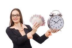 Business lady holding alarm clock isolated on Stock Photo