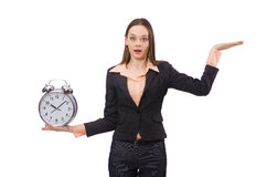 Business lady holding alarm clock isolated on Royalty Free Stock Image